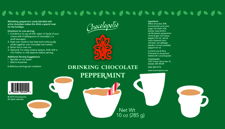 Pepermint white chocolate label