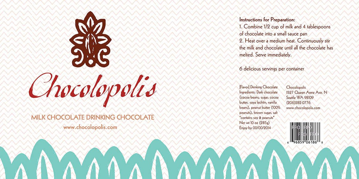drinking chocolate label artwork idea green cacao beans on light ground