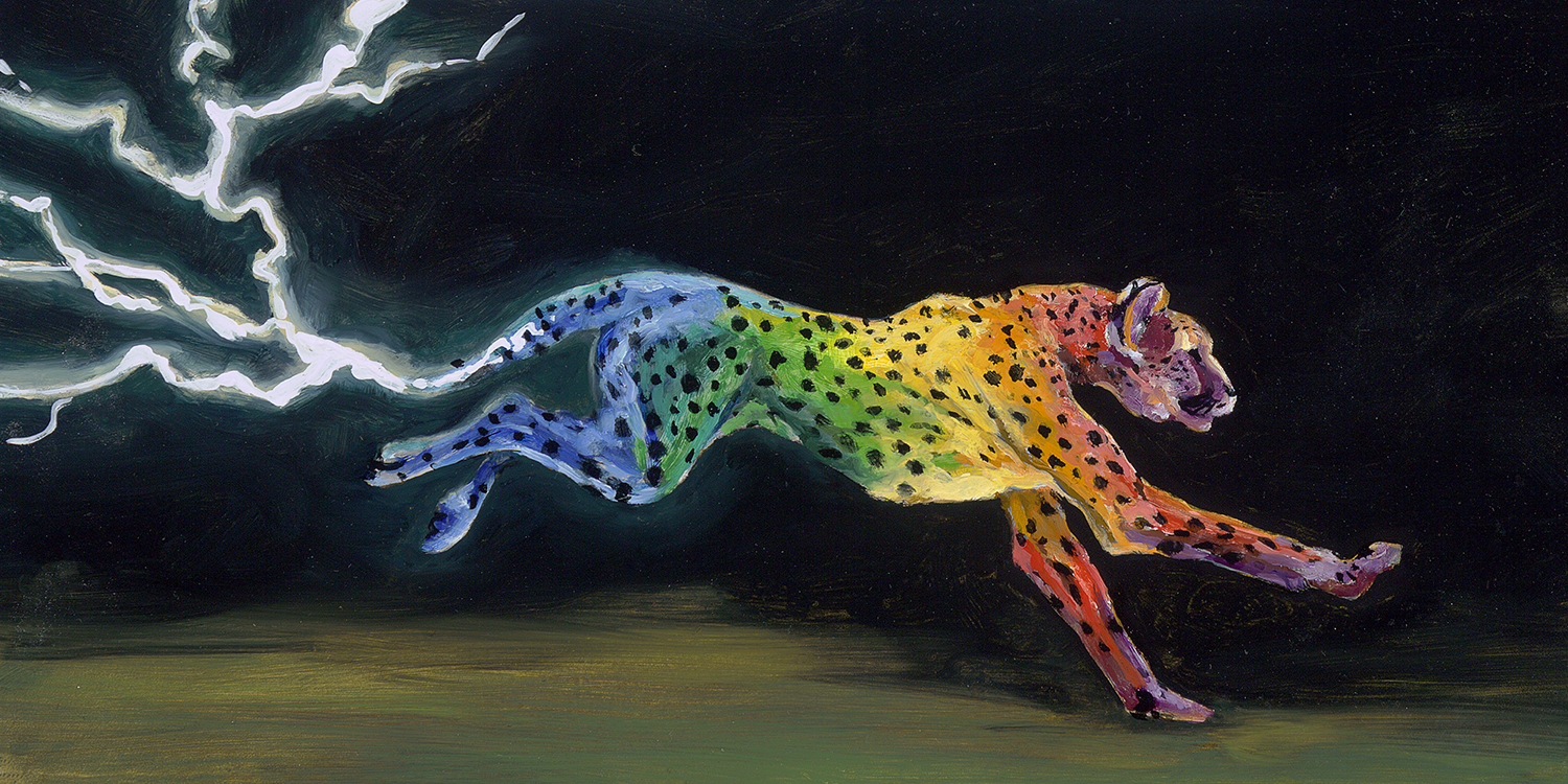 painting of rainbow colored cheeta with lighting tail running in the dark